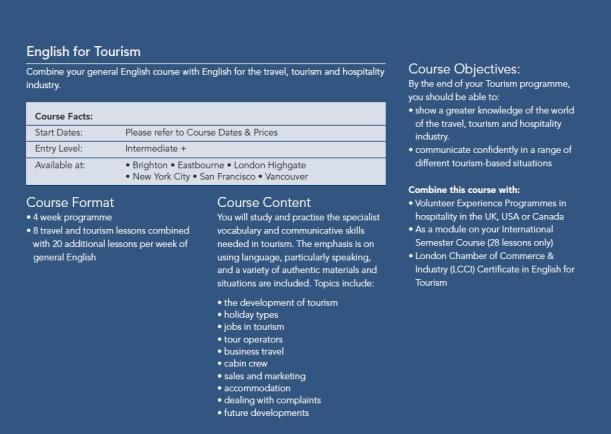 Cursos para turismo
